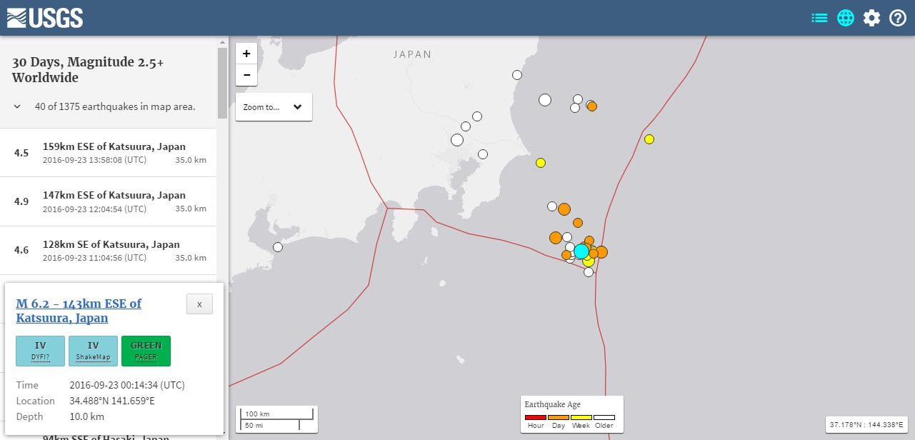 関東東方沖周辺で地震が相次ぐ…先月の終わり頃から始まり、今月の22日から地震が急増!2日間で「M5.0」クラスが約15回近く発生