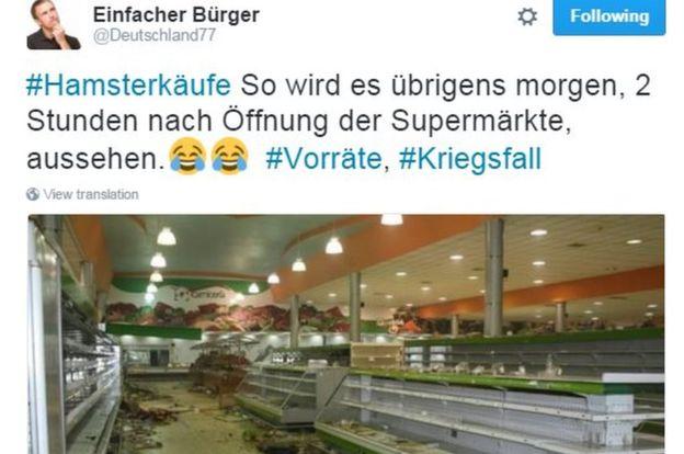 ドイツ政府「ドイツ国民は10日分の水・食料を備蓄しろ」 国家的緊急事態に備えての勧告か