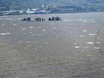 白波が立つ宍道湖