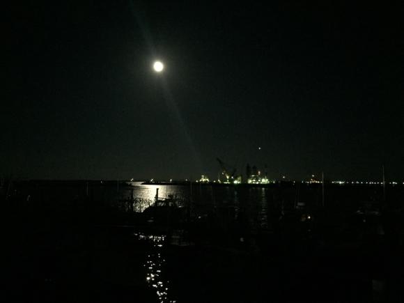 満月の鹿島港 夜景 海