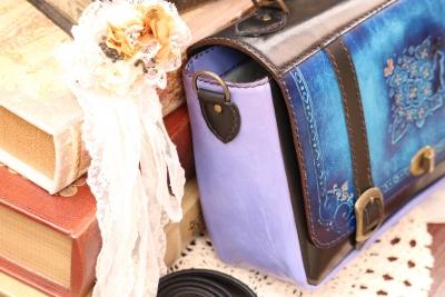 青の紫陽花トランク風クラシカルバッグ