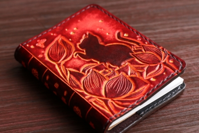 蓮と猫のメモ帳カバー