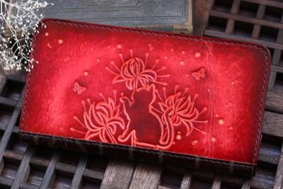 彼岸花の洋古書風長財布