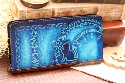 青い洋古書風長財布