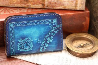 青い洋古書風コインケース