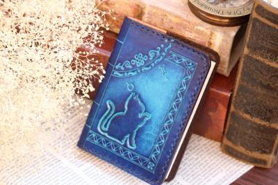 青の洋古書風メモ帳カバー
