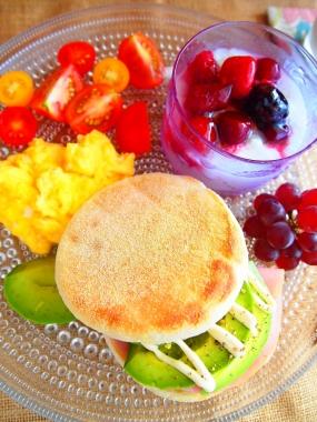 avocado English muffin sandwich