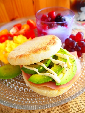avocado English muffin sandwich