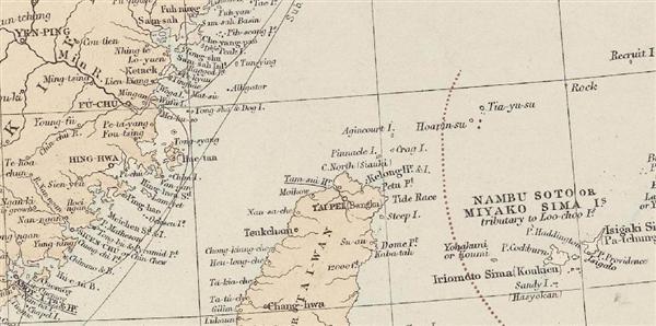 「スタンフォード地図店」が1887年に発刊した「ロンドン・アトラス」では、赤いラインで尖閣諸島の西側に国境線を引いている_wst1506240018-p2