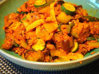 夏野菜のミートソース炒め