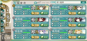 2016春イベE-3第1艦隊編成