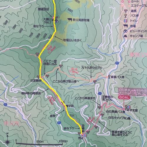 大霧山→定峰峠マップ