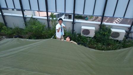 テント貼り!