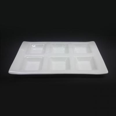 リム付 長角6点珍味皿
