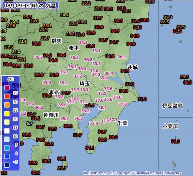 アメダス気温分布 関東地方