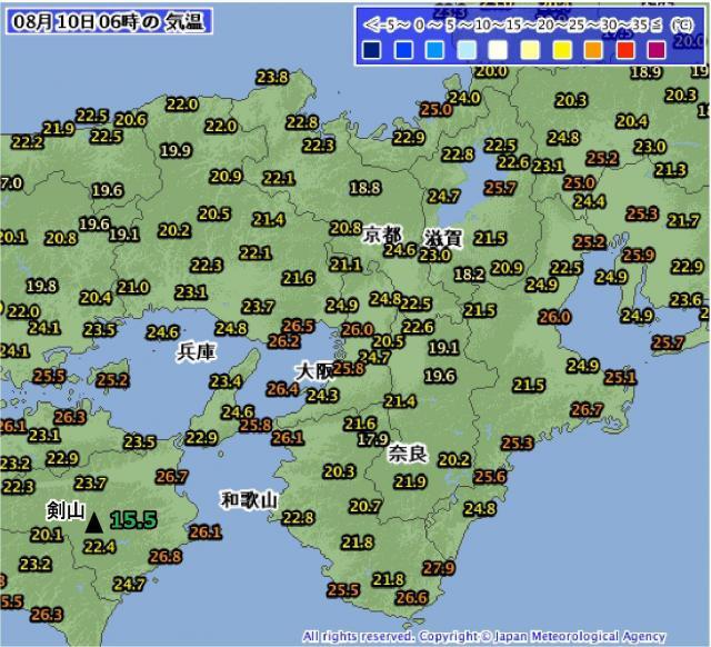 2016年8月10日06時の気温分布