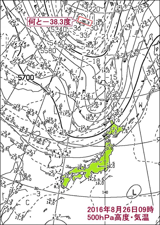 2016年8月26日09時 極東500hPa高度・気温 (抜粋)
