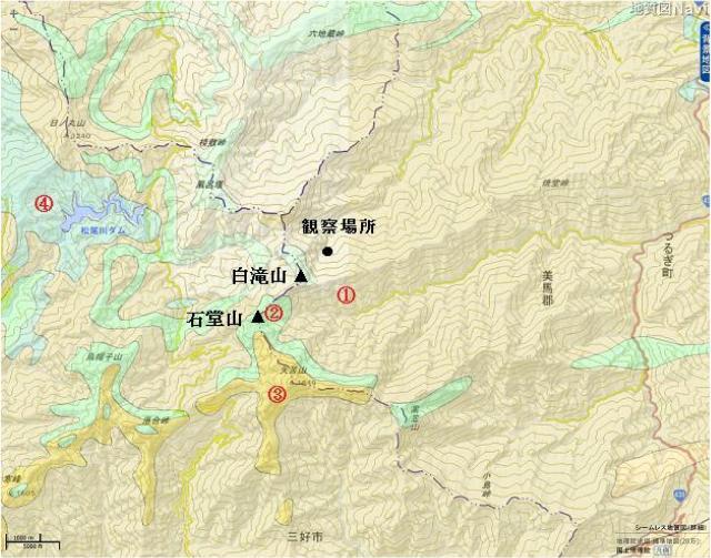 白滝山周辺の地質図