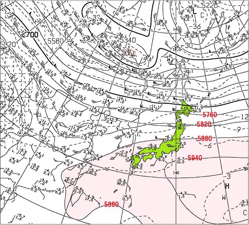 2016年10月2日09時 500hPa高度・気温