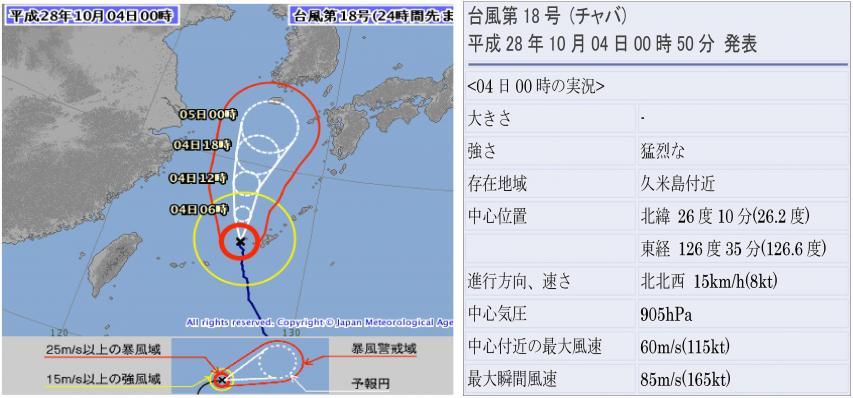 10月3日24時に台風は久米島付近にある