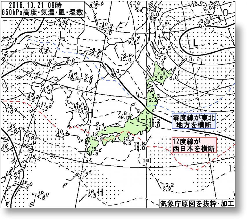 2016年10月21日09時の850hPa高度・気温等