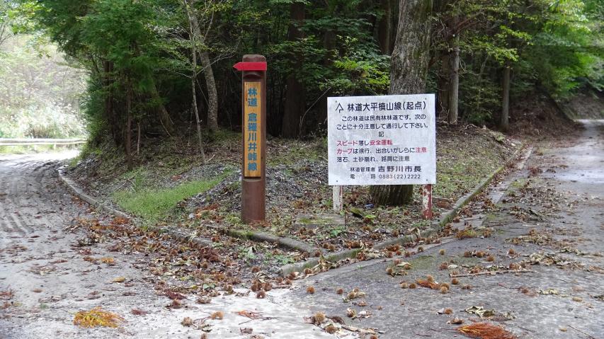 林道分岐点、ここは右へまいります。