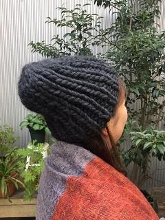 1目ゴム編み帽子①