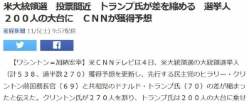 news米大統領選 投票間近 トランプ氏が差を縮める 選挙人200人の大台に CNNが獲得予想