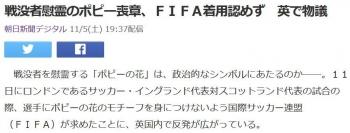 news戦没者慰霊のポピー喪章、FIFA着用認めず 英で物議
