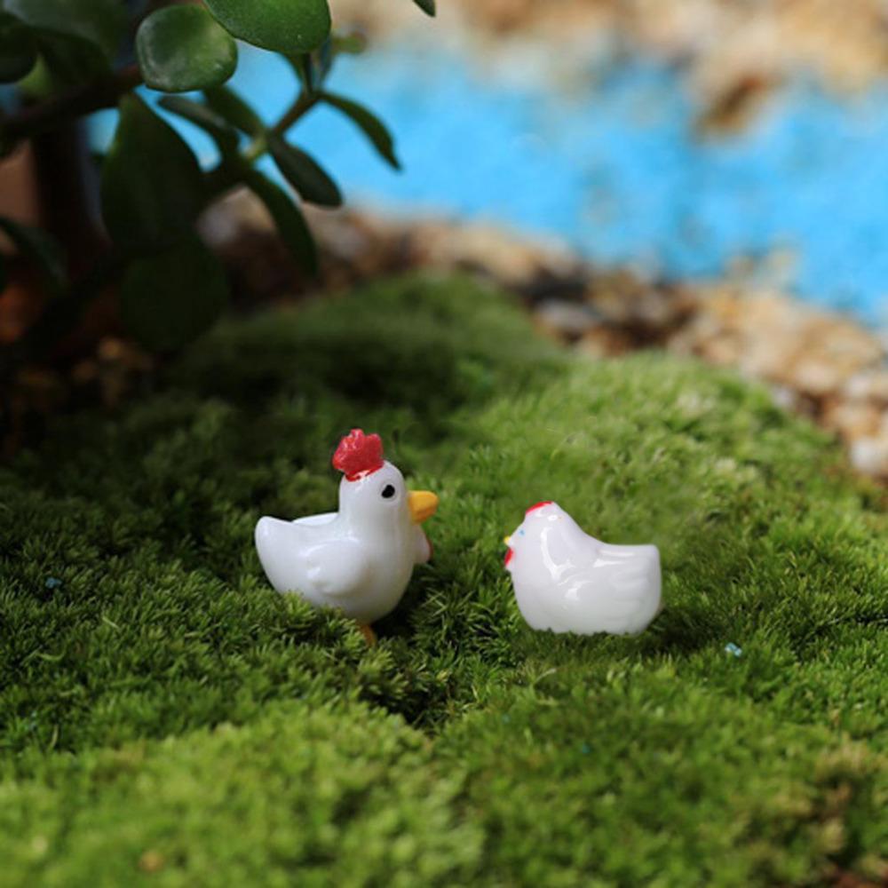 2ピースミニ樹脂クラフト巨根鶏組み合わせ動物盆栽置物妖精ガーデンミニチュアオーナメントガーデン装飾