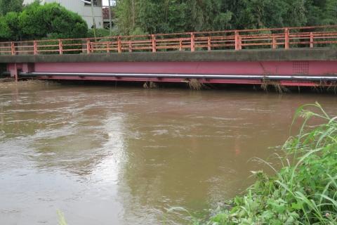 台風7号の恋瀬川。考案寺橋(片野地区)⑥