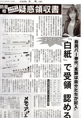 12 稲田防衛相 白紙領収書