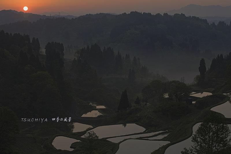 松之山の朝日
