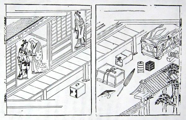 西鶴「好色五人女」挿絵「お七と吉三郎出会い」の場面