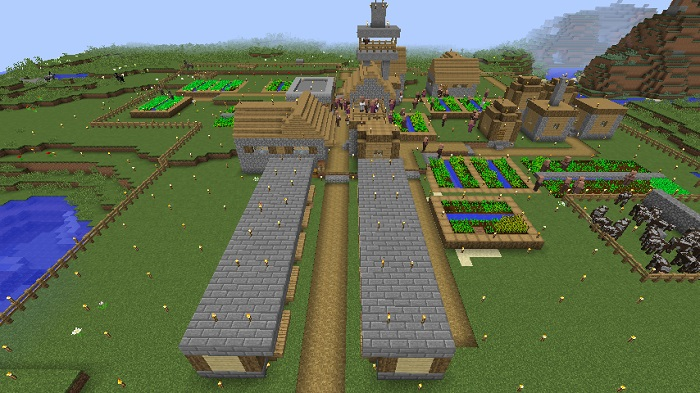 村の全景、700.393
