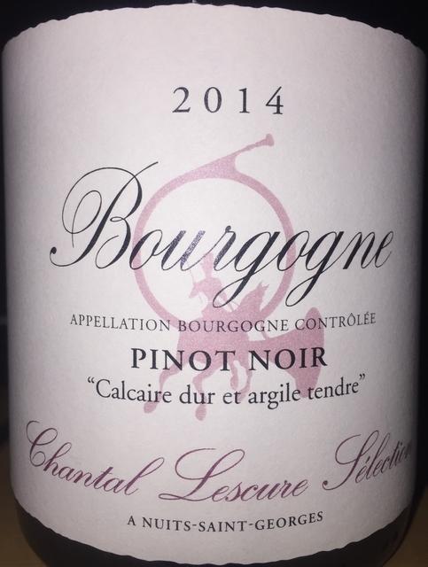 Bourgogne Pinot Noir Calcaire dur et argile tendre Chantal Lescure Selection 2014