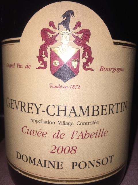 Gevrey Chambertin Cuvee de lAbeille Domaine Ponsot 2008