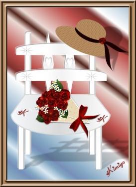6-3花束と椅子バラ
