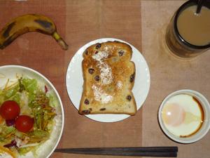 レーズンシナモントースト,サラダ(キャベツ、レタス、大根、トマト)青紫蘇・オリーブオイル,目玉焼き,バナナ,コーヒー