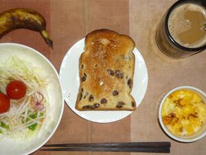 レーズントースト,サラダ(キャベツ、レタス、大根、トマト)青紫蘇・オリーブオイル,フライドオニオン入りスクランブルエッグ,バナナ,コーヒー