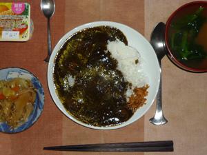 カレーライスフライドオニオン添え(マンナンライス),肉野菜炒め,ほうれん草のおみそ汁,ヨーグルト