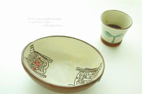 s-なまはげ楕円皿・双葉ぐい呑み(ショットグラス)