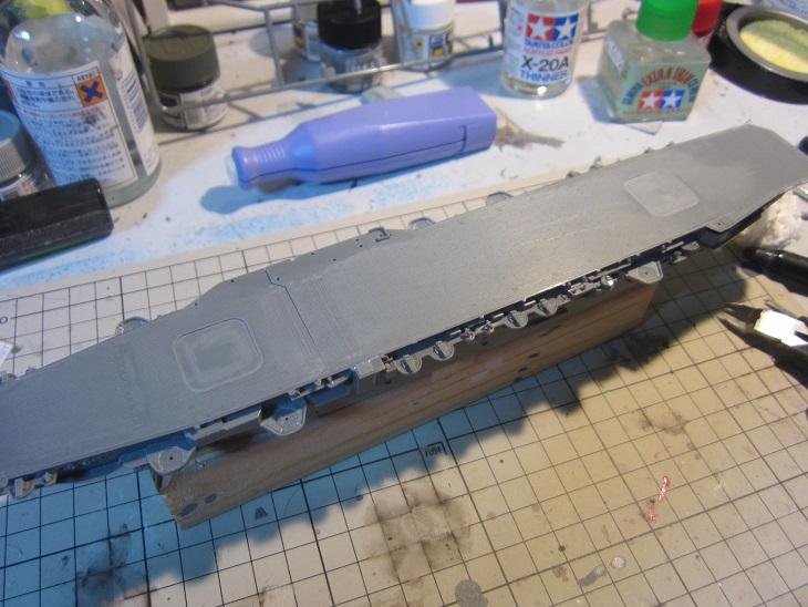 飛鷹飛行甲板仮組み