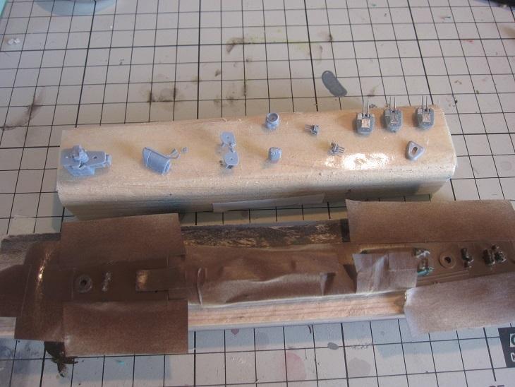 秋雲パーツの作成とリノリウム塗装