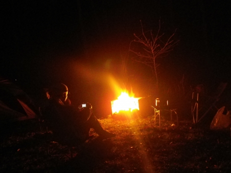 御座松キャンプ場 2016 焚火 夜