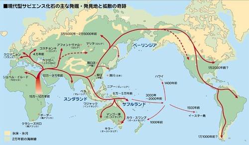 人類拡散世界地図