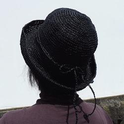 1368ダルマ笹和紙つば広ハット帽子後ろ