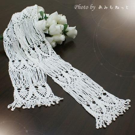 無料編み図レシピ絹シルクショールあみもねっとスーピマシルクショール