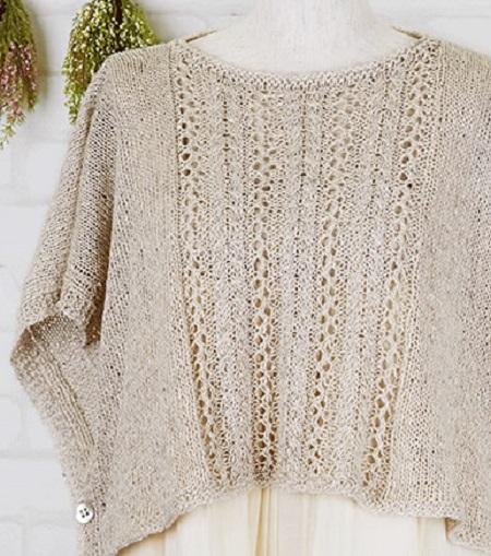編み物キット綿麻フラックスTWまっすぐポンチョ大