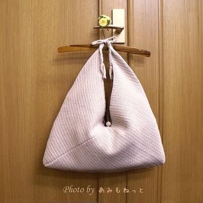 無料編み図バッグあみもねっとさらさらつやつやコットンあずま袋みたいなバッグ